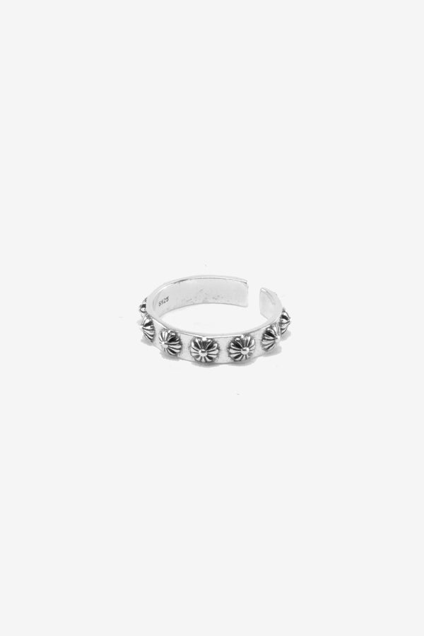 .925 Fleur Cross Band Ring