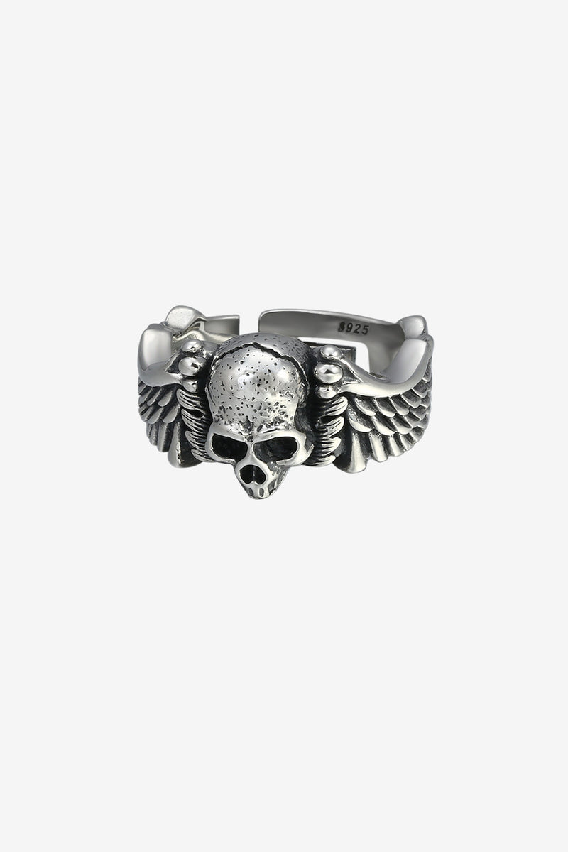 .925 Winged Skull Ring