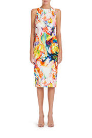 Halterneck Flowers Plunge Dress