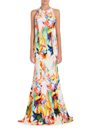 Halterneck Plunge Long Dress