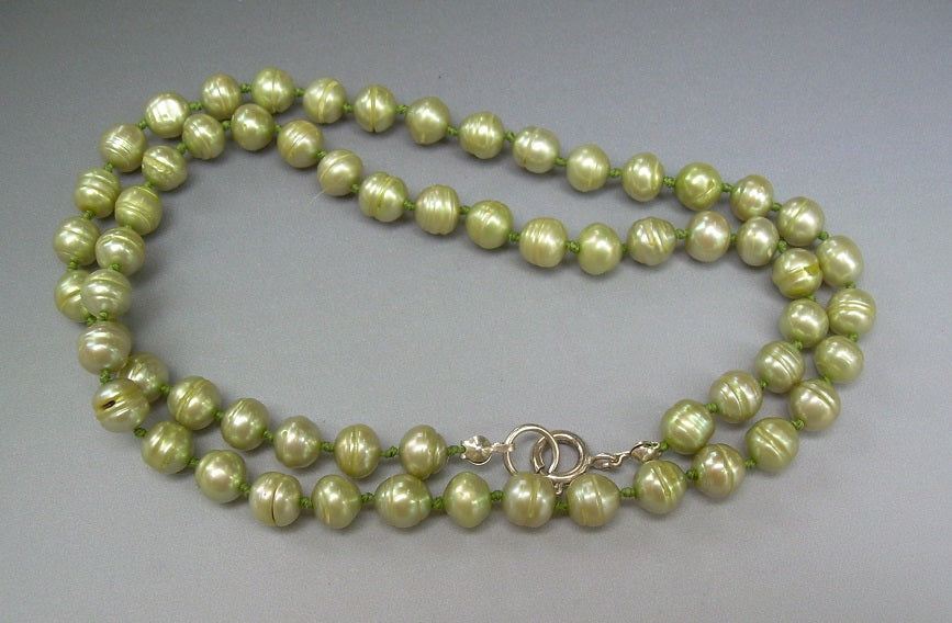 7e75596d351 Pale Lime Green Pearl Necklace and Earring Set – Treasures By Diana