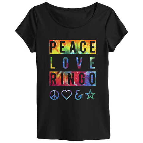 Peace Love Ringo Banner Ladies T-Shirt