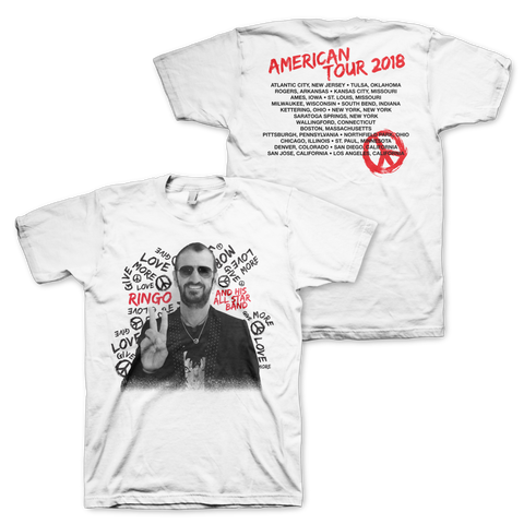 Ringo Starr Peace & Love ™ Give More Love White USA Tour T-Shirt