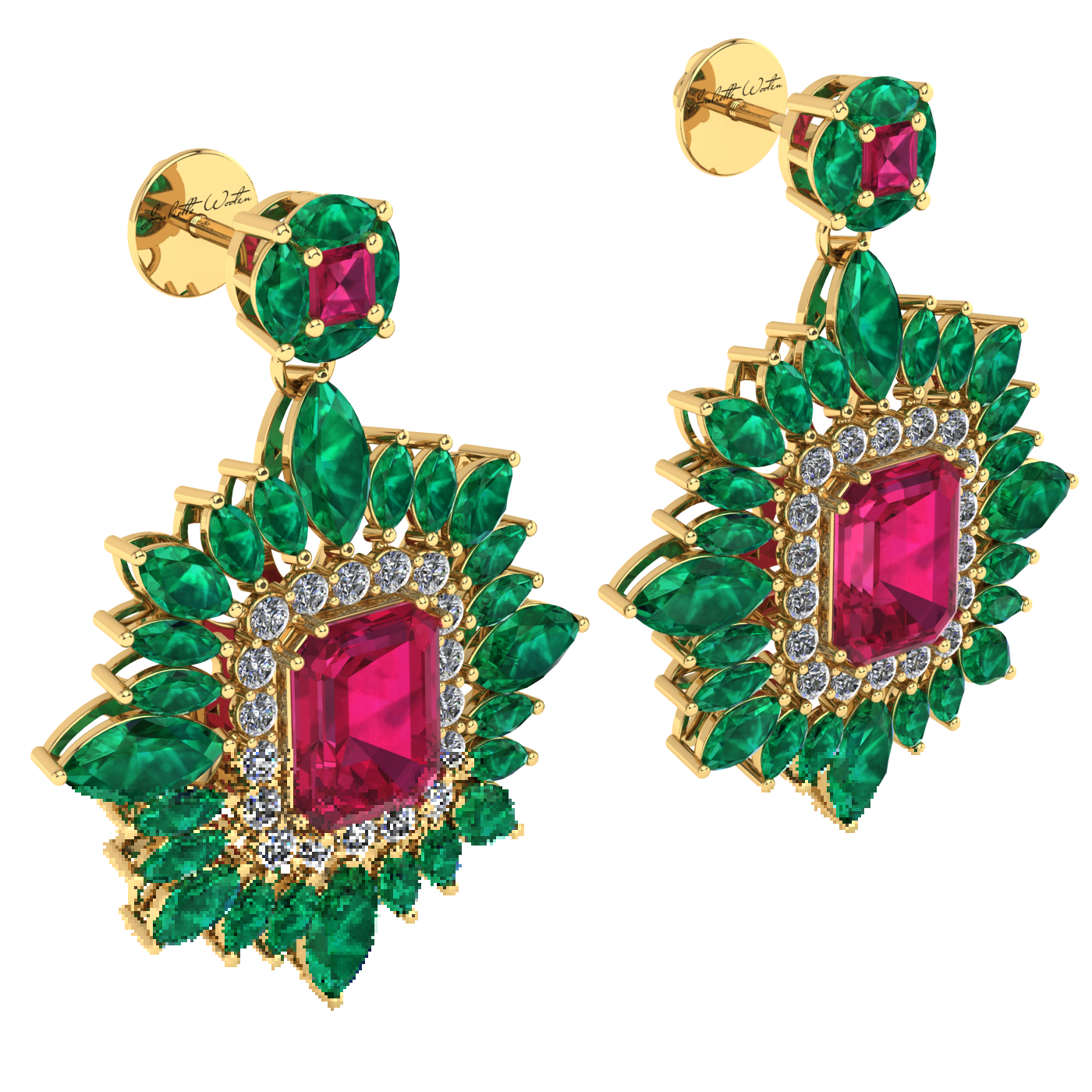 and jewellery nigaam pear diamond ruby gold picture white of shape earrings
