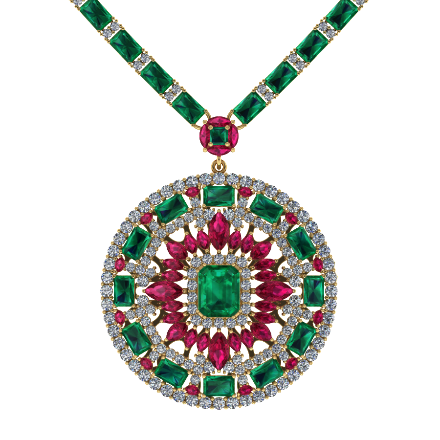 diamond gold emerald and img estate necklace