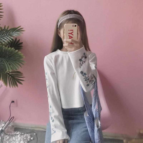 """Floral Embroidery"" Long Sleeved Shirt"