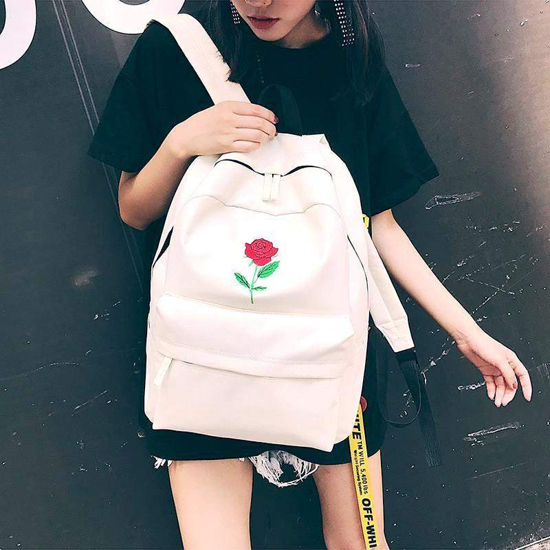 """Rose Embroidery"" Canvas Backpack - Kawaii Nation"