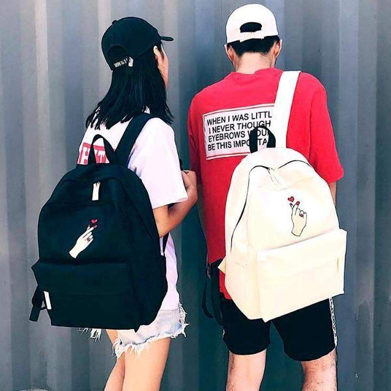 """Snap Heart"" Canvas Backpack - Kawaii Nation"