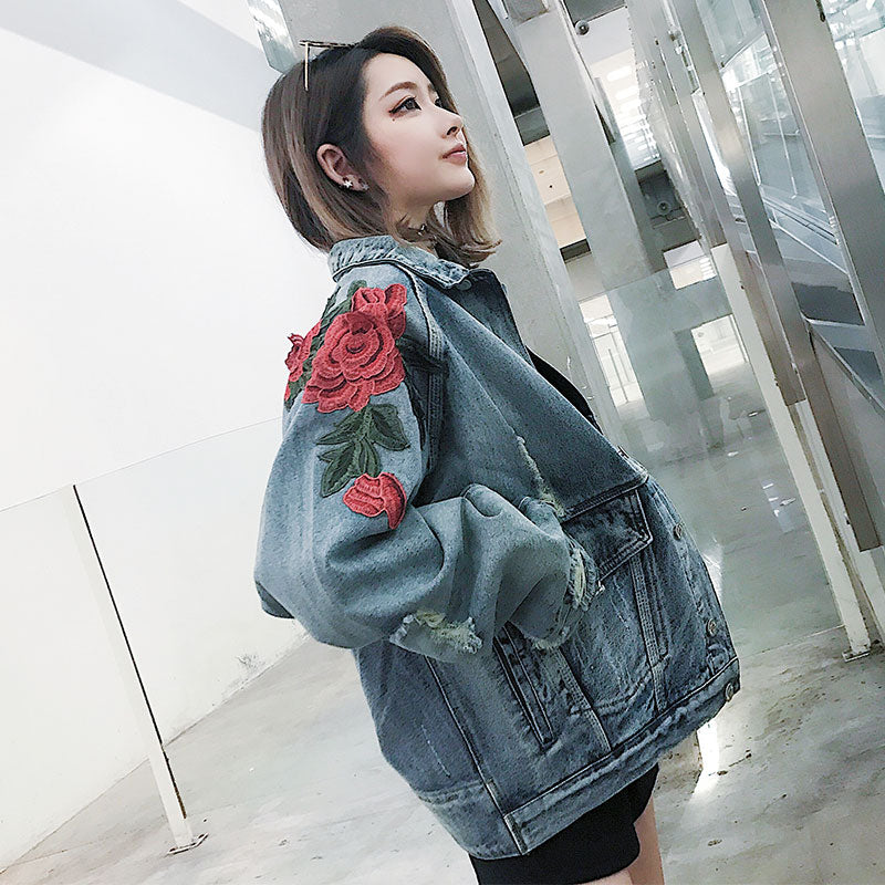"""Smell The Roses"" Denim Jacket"
