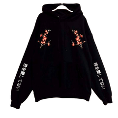 japanese floral embroidery sweatshirt