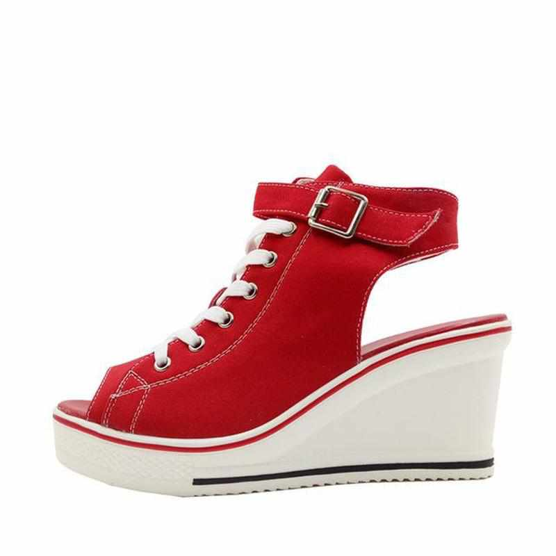 """Cool Girl"" Open-Toe Sneaker Wedges - Kawaii Nation"