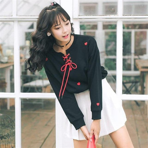 """Heart Lace Up"" Sweater"