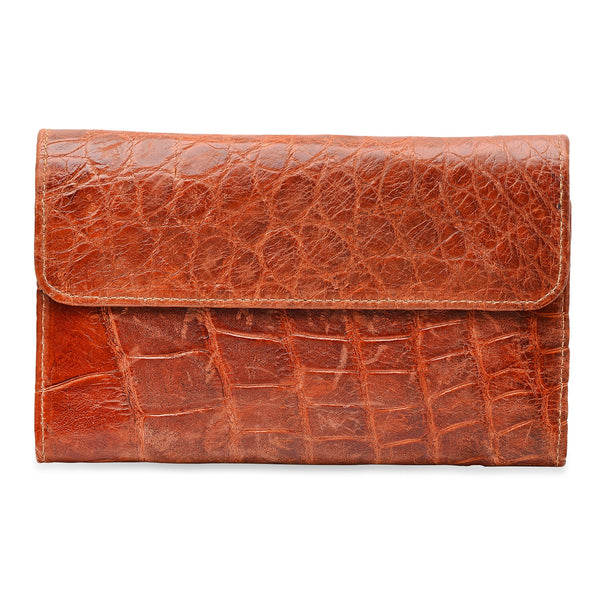 Cognac Alligator Women's Wallet Lined with Leather