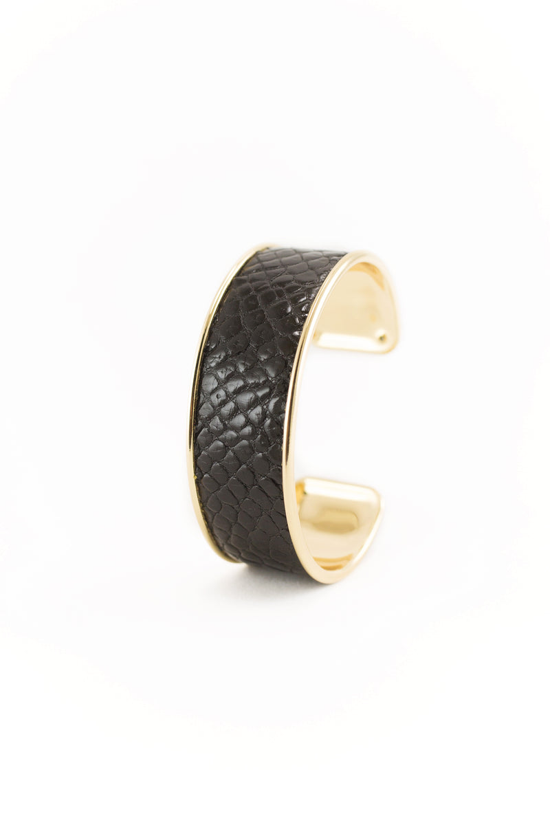 Glazed Black Genuine Alligator Bracelet
