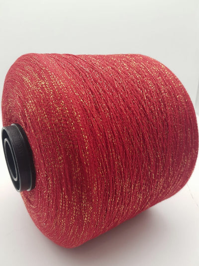 Viscose fancy yarn | Red with gold | Lace
