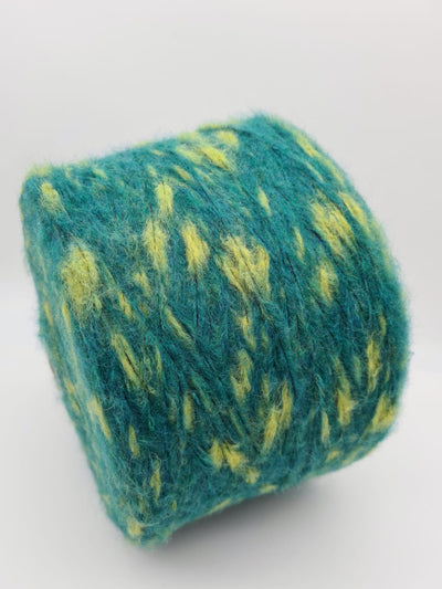 Merino & Mohair mix yarn | Green with yellow | DK/Chunky