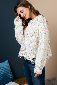 Confetti Distressed Sweater