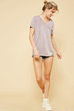 Distressed Tee in Lavender