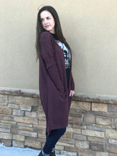 Long Cardigan in Wine