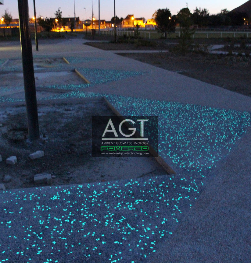 Glowing Concrete Exposed Aggregate Walkway
