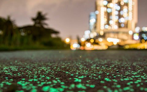 Glowing concrete walking path Powered BY: AGT ULTRA Grade Glow Stones