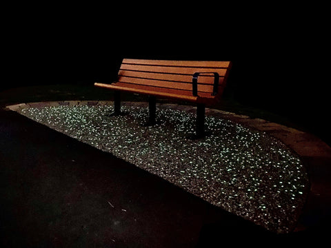 Glowing concrete trail bench with AGT ULTRA grade glow stones