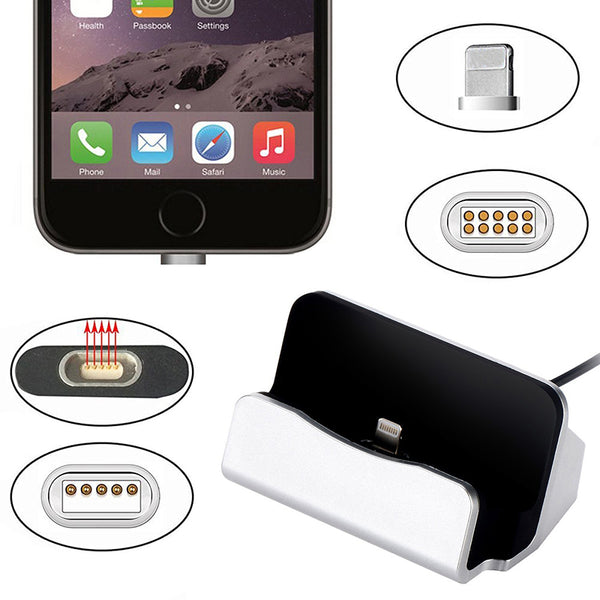 Universal Magnet Adsorb Charging Dock Station Desktop Magnetic Charger USB Sync Data For iPhone 5 5s 6 6s 7 8 Plus X Micro USB