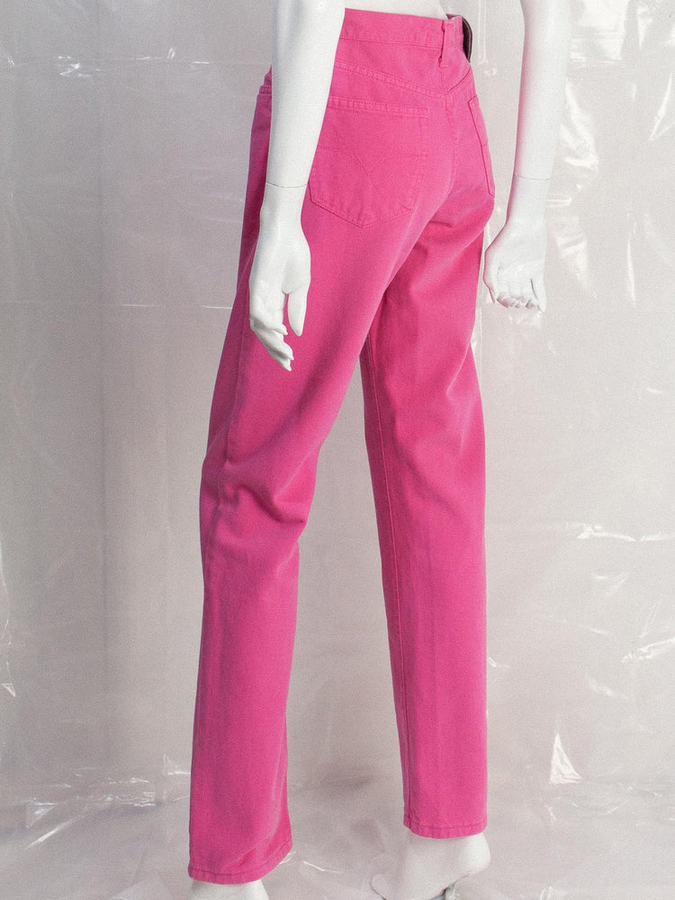 Vintage Versace 990s Hot Pink Denim High Waist Jeans