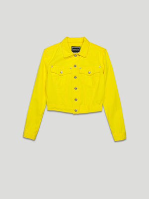 vintage versace bright yellow denim jacket