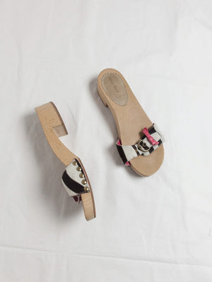 Y2K Wooden Sandals with Horse Hair Straps
