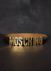 MOSCHINO 1990S BLACK AND GOLD LETTERS BELT