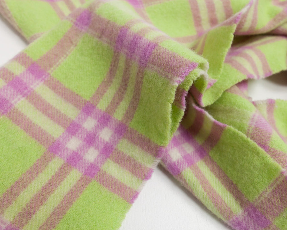 Vintage Lime Green Check Scarf