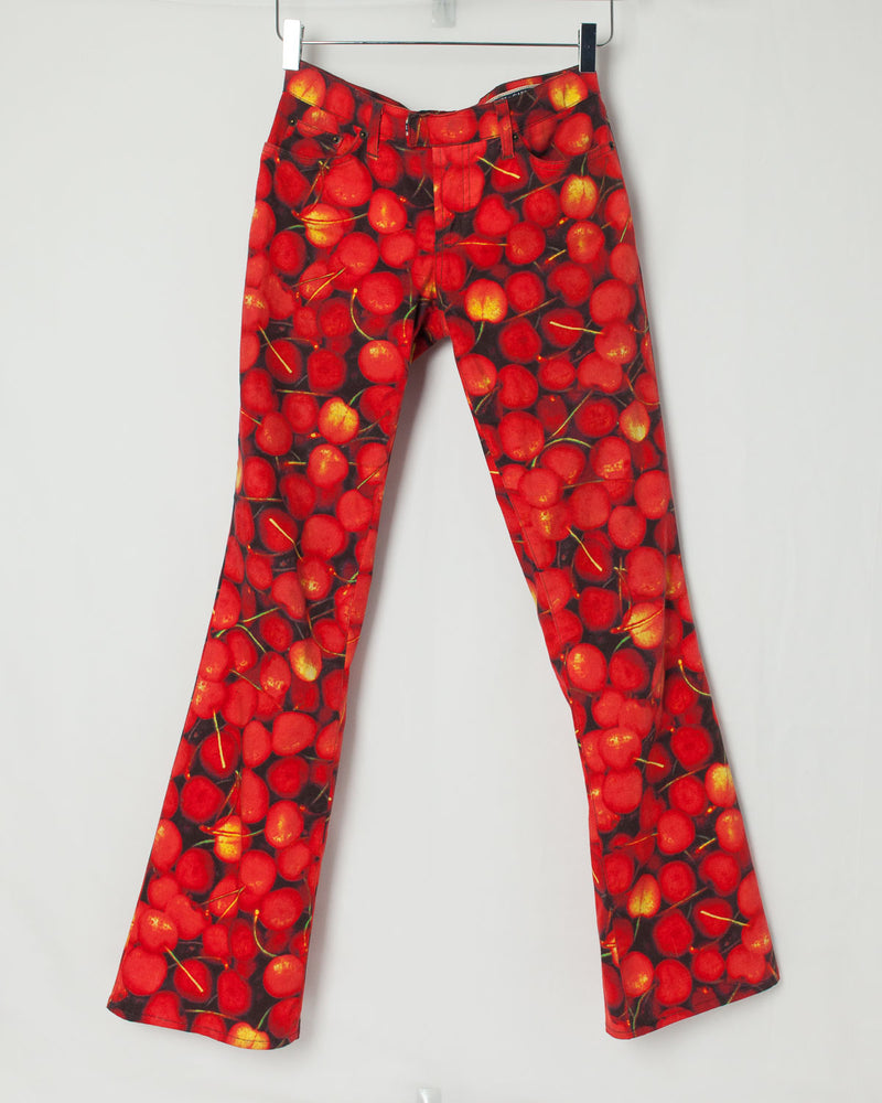 Vintage Dolce And Gabbana 2003 Cherry Print Boot-cut Jeans