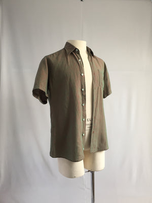 Red and Green Weave Linen Shirt - NOTHING SPECIAL VINTAGE DESIGNER ARCHIVE