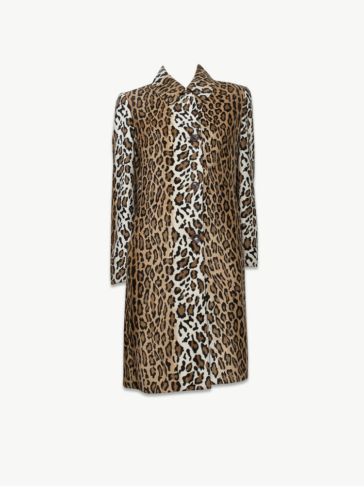 Moschino Cheap and Chic - 1990s Velvet Leopard Print Coat / M