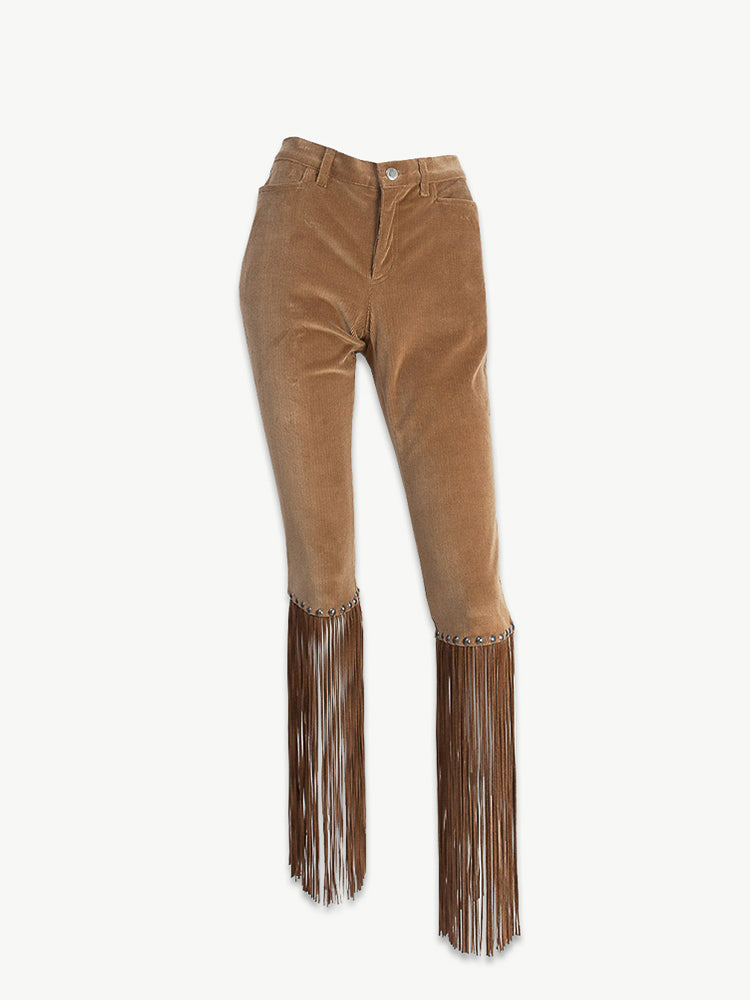 Y2K Croped Skinny Cord Trousers with Suede Tassles
