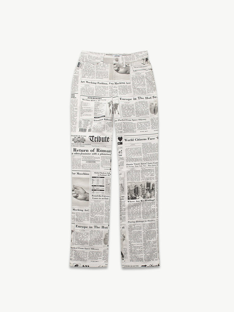 Vintage Moschino Newspaper Print Trousers