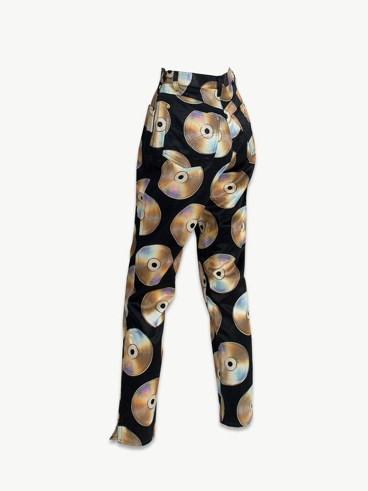 Vintage Moschino Jeans  Compact Disc Print Trousers
