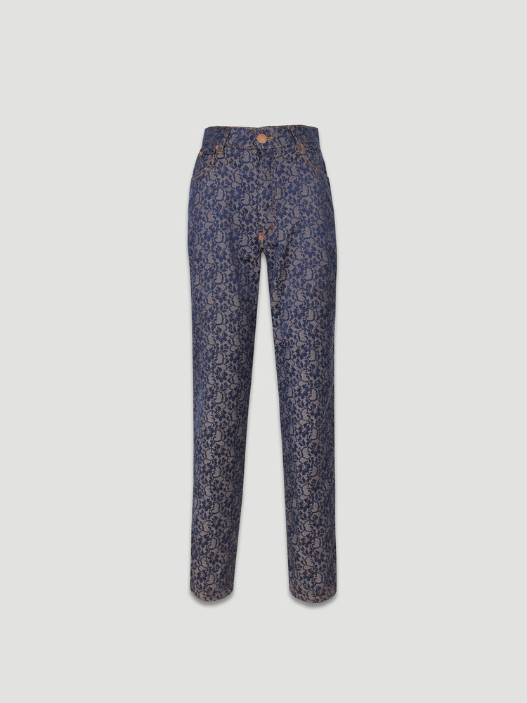 1990s Jacquard Lace Fabric Skinny Trousers