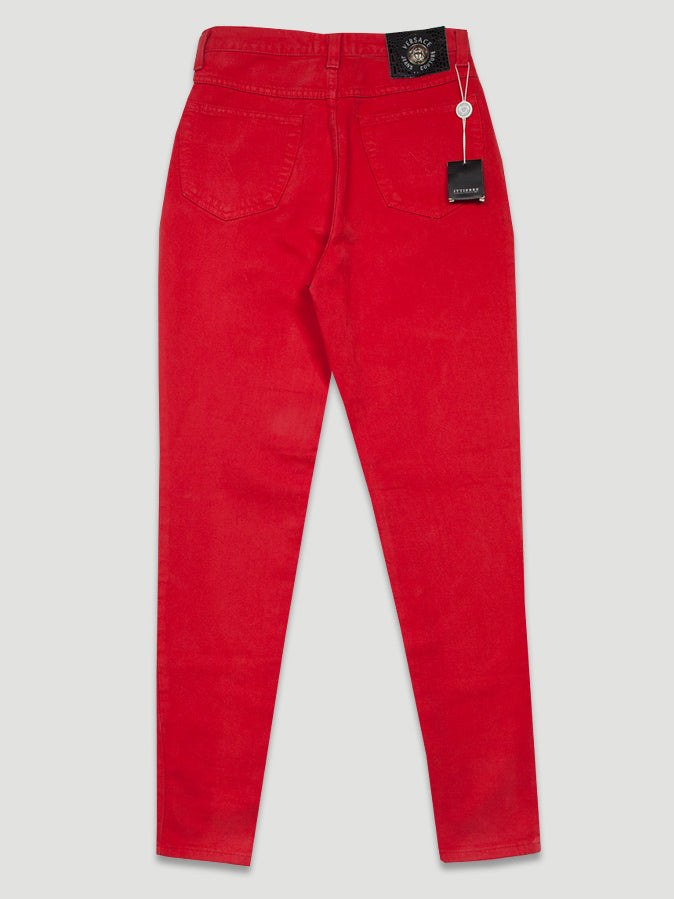 1990s High Waist Skinny Jeans in Red Denim