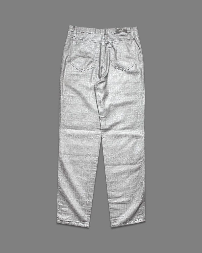 Fendi 1990s Silver Zucca  Trousers - NOTHING SPECIAL VINTAGE DESIGNER ARCHIVE