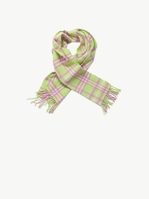 Vintage Lime Green Check Wool Scarf