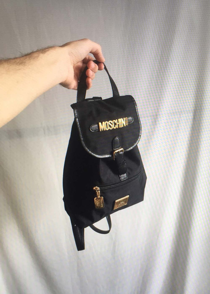 Vintage Black Nylon Letters Backpack