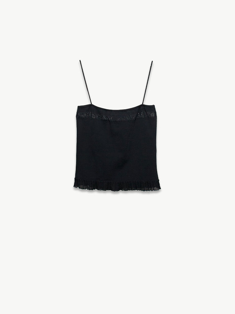 1990s Spagetti Strap Top with Lace Detail