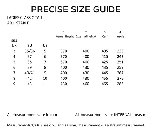 Ladies wellies sizing guide