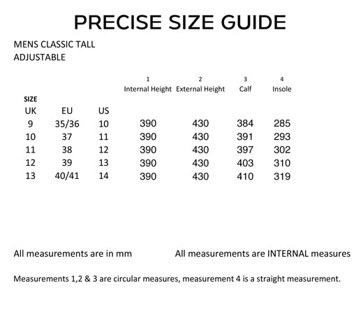 Mens Classic boot sizing