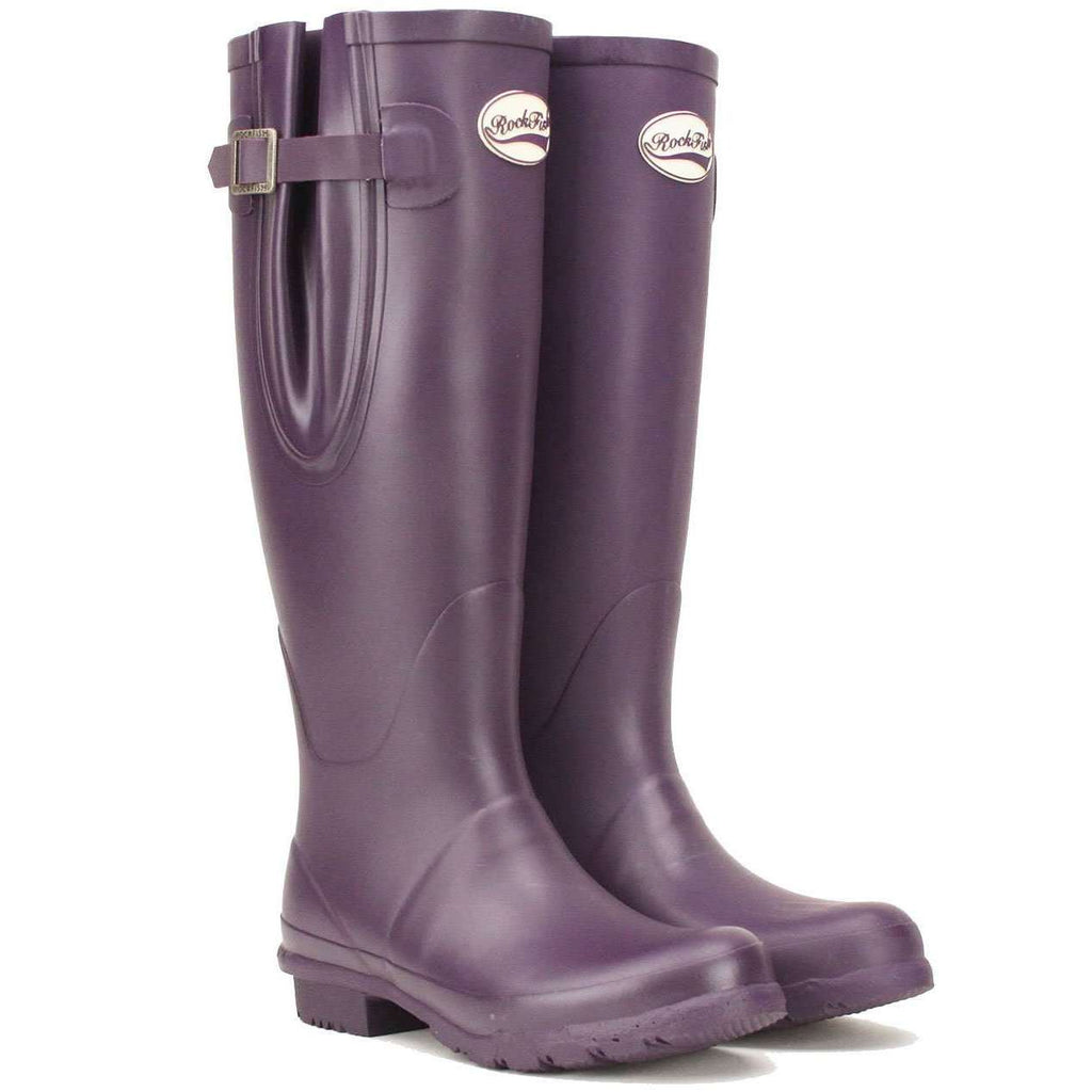 Women's Purple Welly, Adjustable strap and neoprene lined from Rockfish Wellies