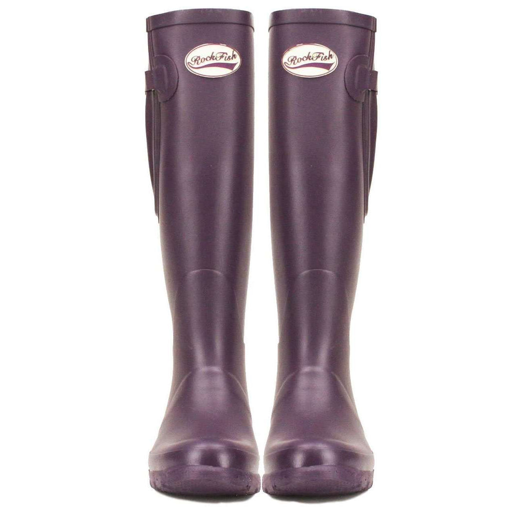 Women's Purple Welly, Adjustable boot strap for larger calf and neoprene lined from Rockfish Wellies