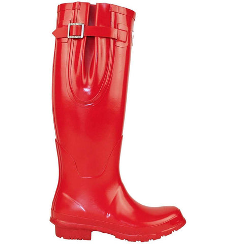 Rockfishwellies.com Red Rockfish Women's Tall Adjustable Gloss Samba Red Wellington