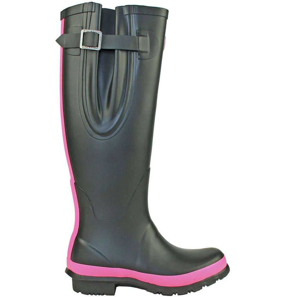 Rockfish wellies pink and black adjustable boot